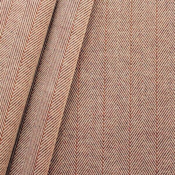 100% Baumwolle Fischgrät mit Nadelstreifen Farbe Beige-Braun