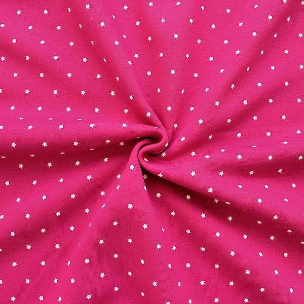 "1,00 Meter Sweatshirt Baumwollstoff Artikel Jogging ""Sterne klein"" Farbe Pink"