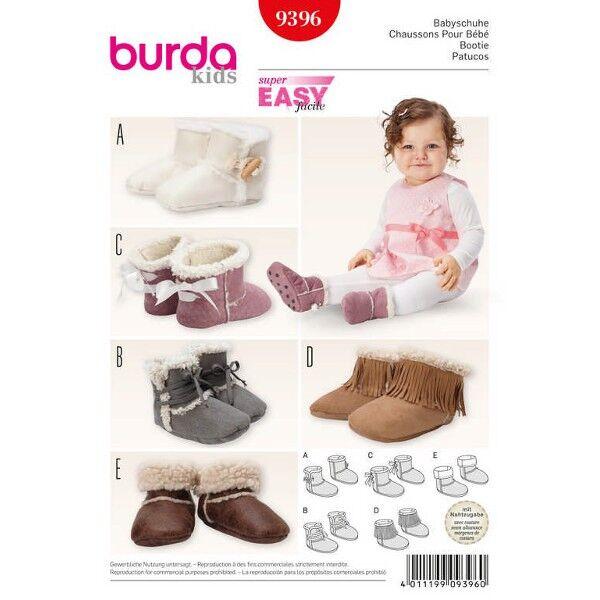 Burda 9396 Schnittmuster für Babyschuhe oder Fellschuhe mit verschiedenen Varianten und Verschlussmöglichkeiten