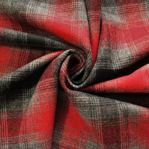 Wollmix Stoff Winter Karo Rot-Grau