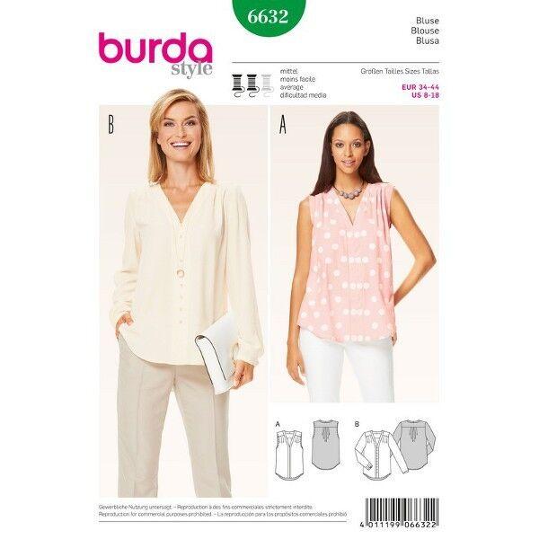 Bluse – V-Ausschnitt mit Blende, Gr. 34 - 44, Schnittmuster Burda 6632