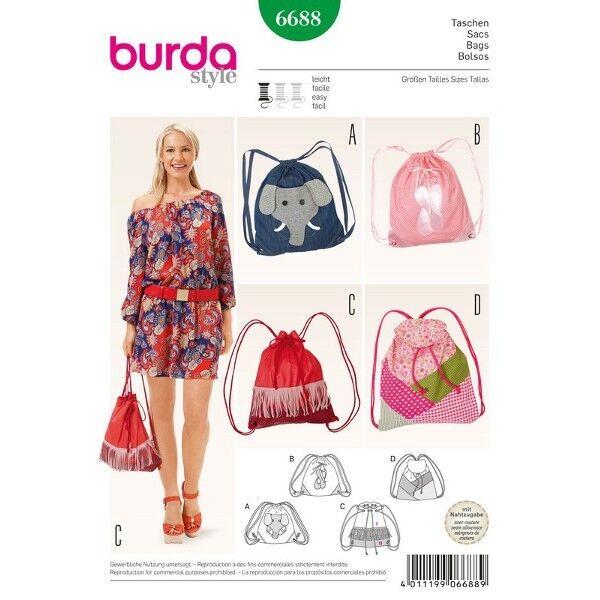 Taschen – Beuteltaschen – Rucksack, Schnittmuster Burda 6688