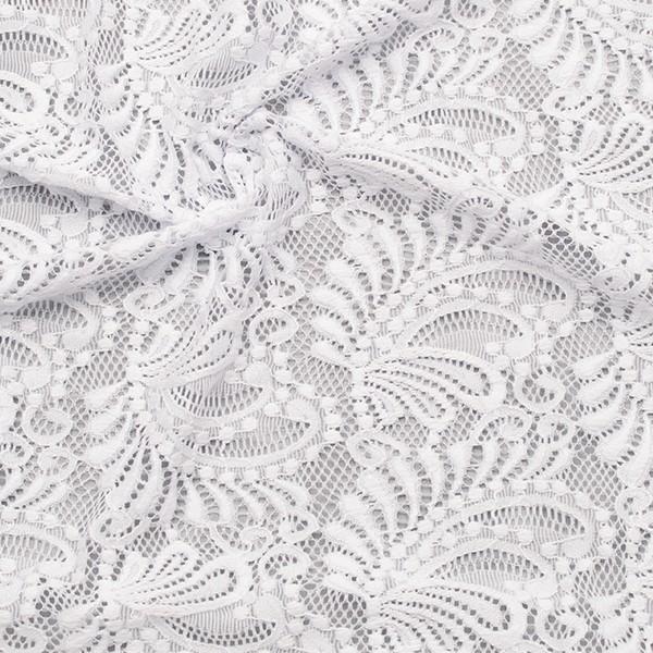 Stretch Spitzenstoff Romantic Leaves Weiss