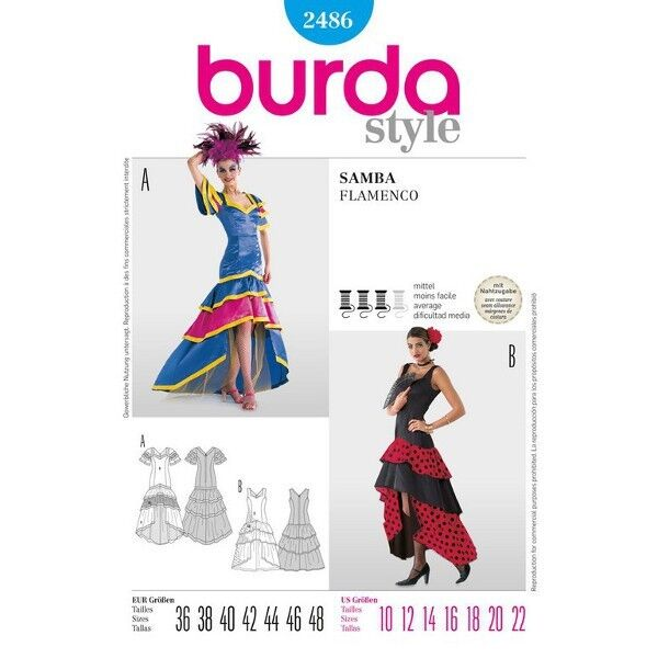 Samba-Kleid, Flamenco-Kleid, Gr. 36 - 48, Schnittmuster Burda 2486