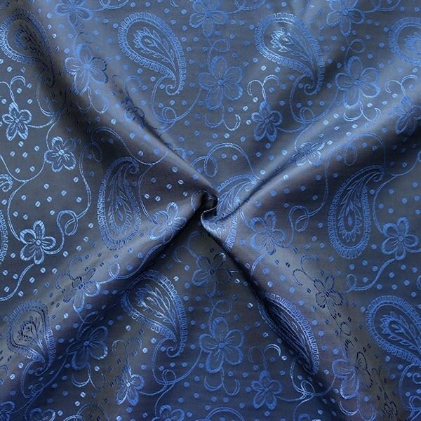 Futterstoff Jacquard Blumen Paisley Blau Schwarz changierend