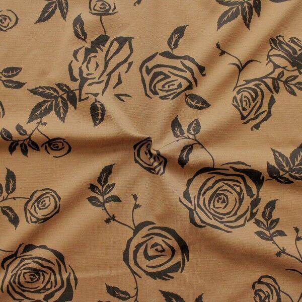 Romanit Jersey Fashion Roses Camel
