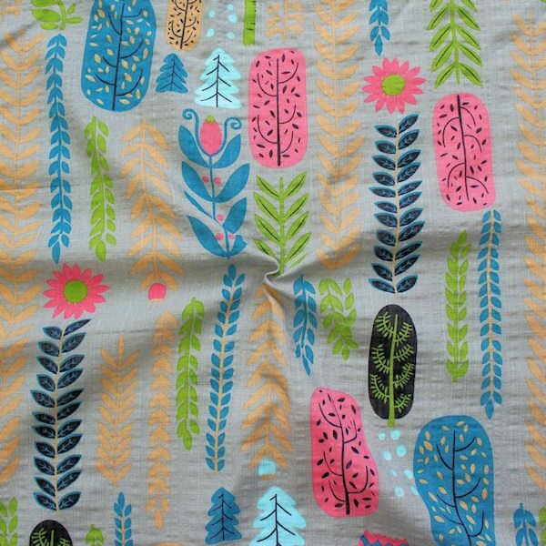 Baumwolle Viskose Modestoff Fashion Print Floral Taupe