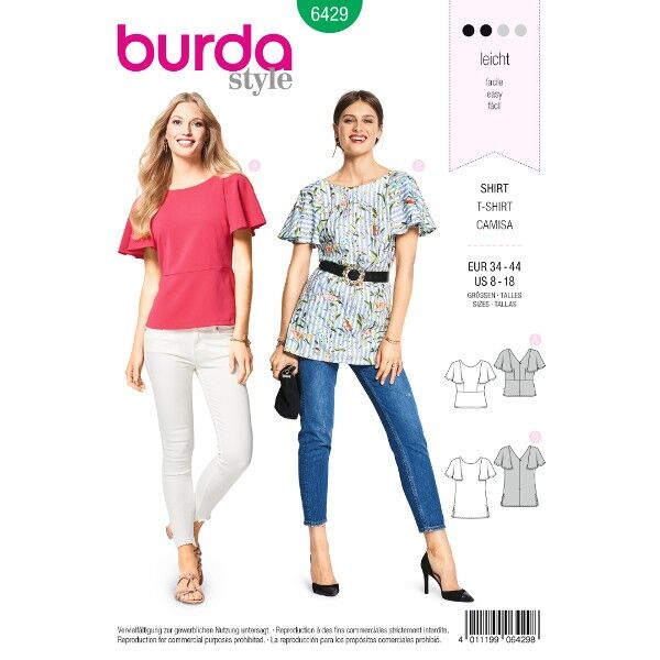 Shirt – glockige Ärmel – mit Rückendekolleté, Gr. 34 - 44, Schnittmuster Burda 6429