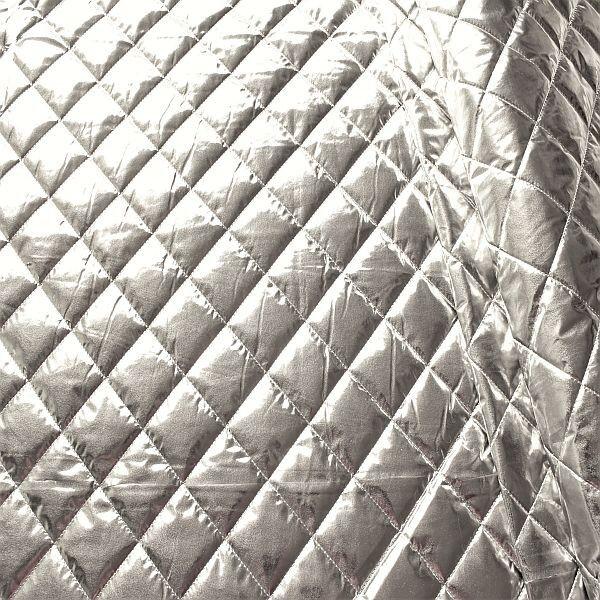 Steppstoff wattiert Quader-Rauten Metallic Optik Silber