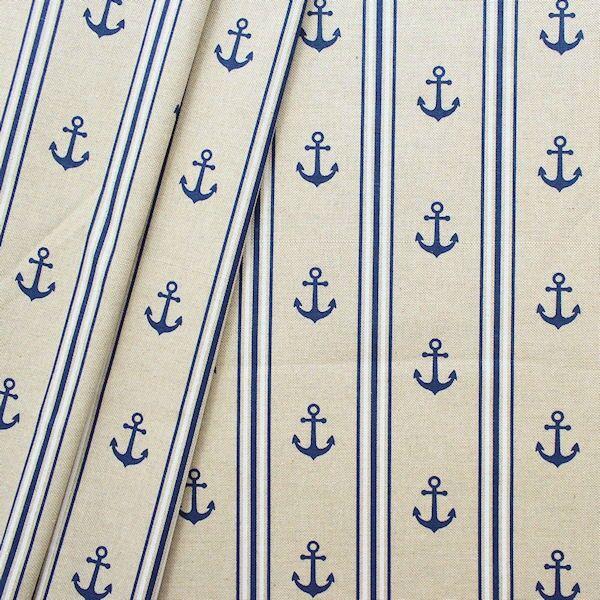 Maritimer Stoff mit Ankern