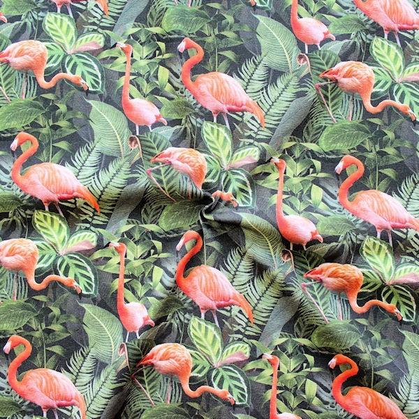"Baumwoll Stretch Jersey Digital Druck ""Flamingos"" Multicolor"