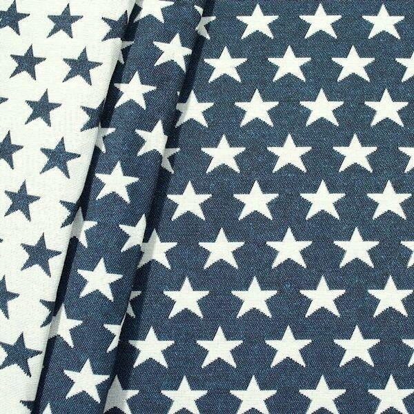 Jacquard Dekostoff Doubleface Stars Blau-Weiss