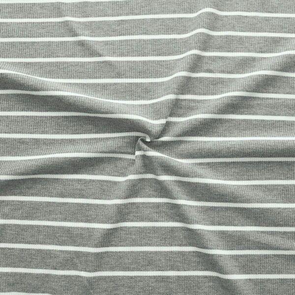 Cotelé Viskose Jersey Rippstrick Optik Streifen Grau-Creme