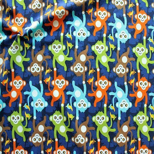 Baumwoll Stretch Jersey Affenbande Blau
