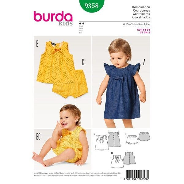 Kleid - Hängerchen - Bluse - Höschen - Fältchen - rückw. Knopfverschuss, Gr. 62 - 92, Schnittmuster Burda 9358
