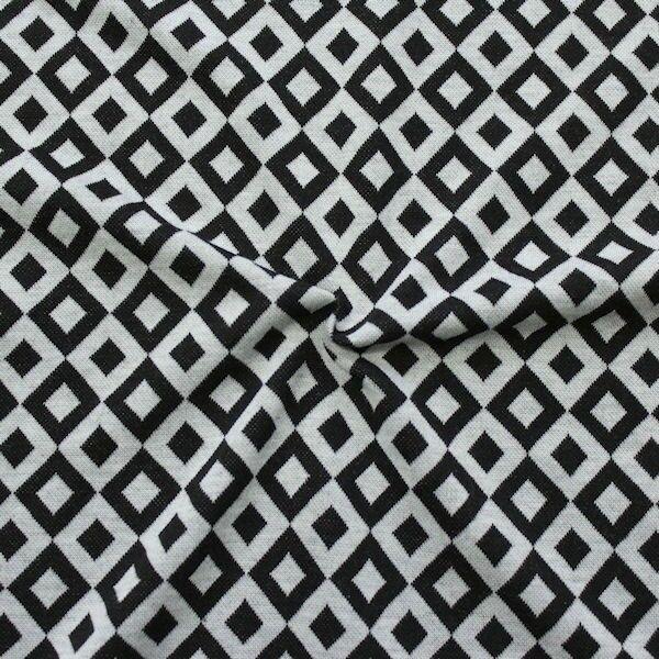 """Strick Jersey """"Quader Rauten mittel"""" Farbe Schwarz-Grau"""