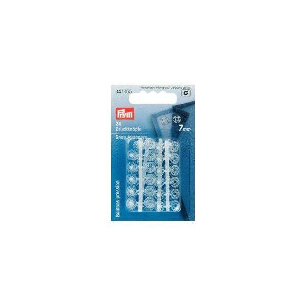 Prym 24 Stück Annähdruckknöpfe Kunststoff 7mm transparent