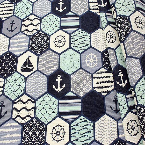 Dekostoff Maritim Patchwork Blau-Weiss