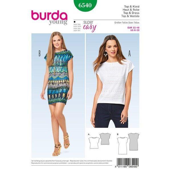 Top - Kleid - ärmellos, Gr. 32 - 46, Schnittmuster Burda 6540
