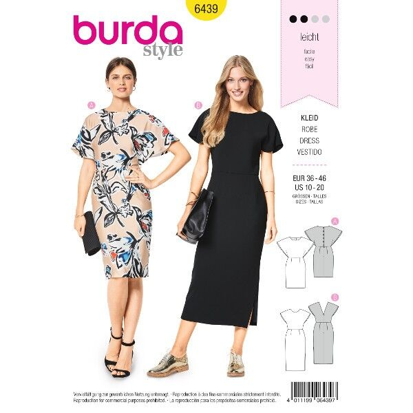 Kleid – Cape-Effekt, Gr. 36 - 46, Schnittmuster Burda 6439