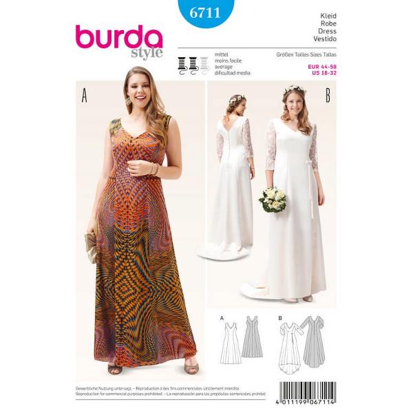 Abendkleid – Brautkleid – Spitzenärmel – ausgestellte Rockbahnen – Schleppe, Gr. 44 - 58, Schnittmus