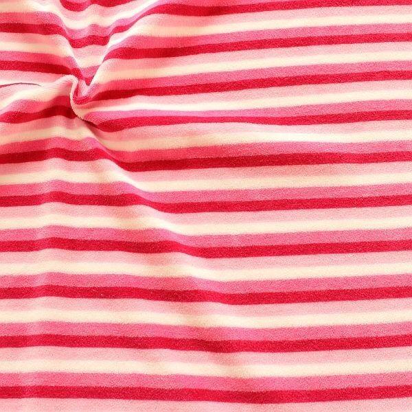 Nicki Baumwollstoff Ringel-Streifen Mix Rosa-Pink