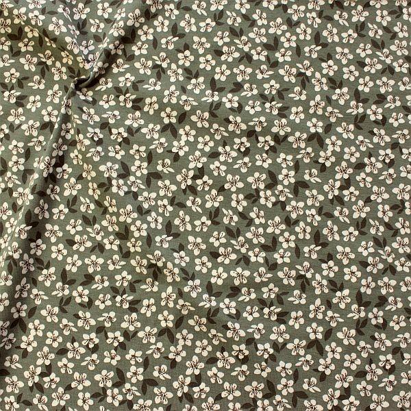 Baumwoll Stretch Jersey Blossoms Grau-Grün