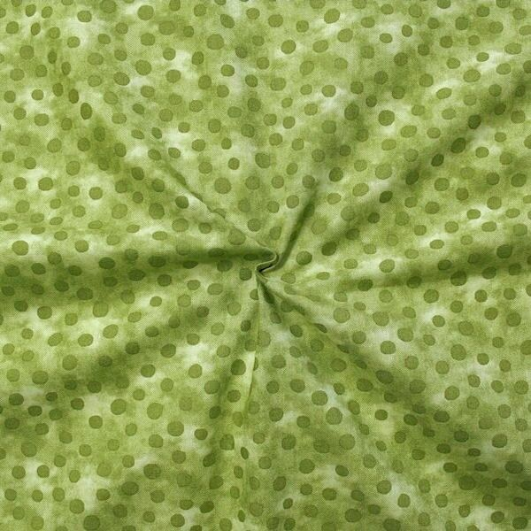 Baumwollstoff Batik Tupfen Grün