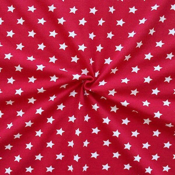 Baumwoll Stretch Jersey Sterne Rot-Weiss