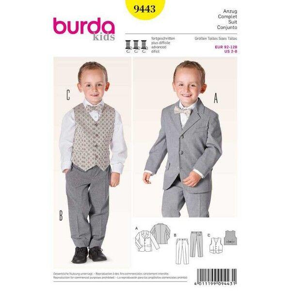 Burda 9443 Schnittmuster für Fortgeschrittene Jungenanzug bestehend aus Sakko, Hose mit Bügelfalte und Weste mit Futterrücken