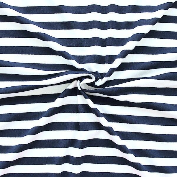 """Viskose Stretch Jersey """"Ringel Mittel"""" Farbe Navy-Blau Weiss"""