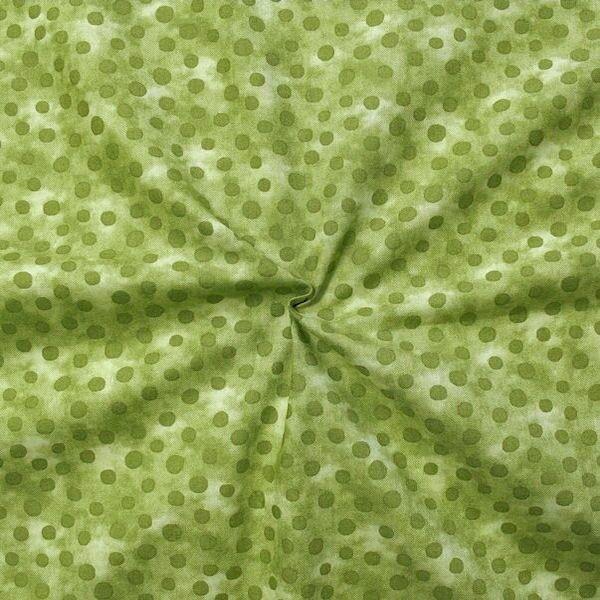 "100% Baumwollstoff ""Batik Tupfen"" Farbe Grün"