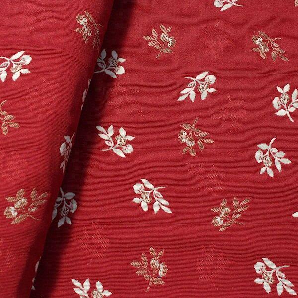 Jacquard Dekostoff Doubleface Blütenzweige Rot-Beige