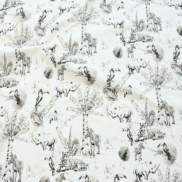 Baumwoll Stretch Jersey Tiere Afrikas Ecru-Grau