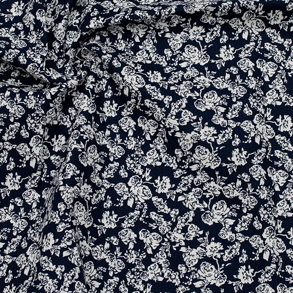 Baumwollstoff Popeline Cottage Roses Dunkel-Blau Ecru