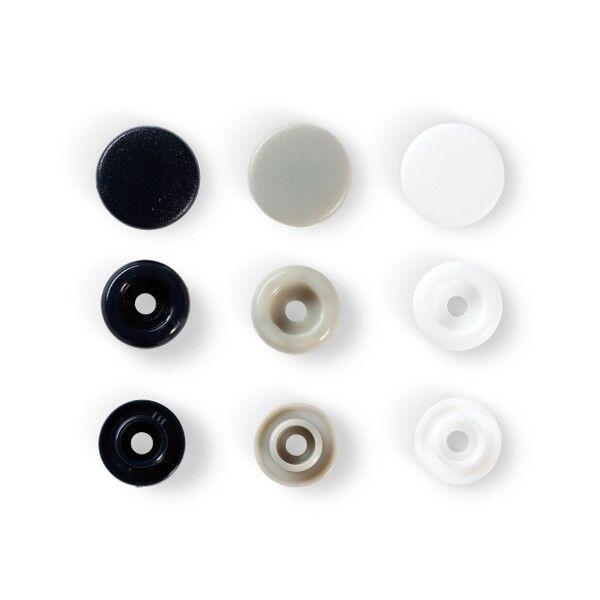Prym Love Druckknopf Color, Color Snaps Kunststoff 30 Stück Ø 12,4mm marine/grau/weiß