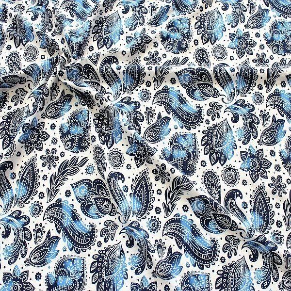Stretch Modestoff Soft Touch Blue Paisley Weiss-Blau