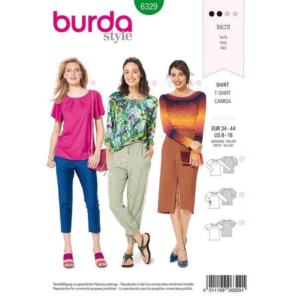Langarmshirt, Longsleeve, T-Shirt mit Schmetterlingsärmeln Gr. 34 - 44, Schnittmuster Burda 6329