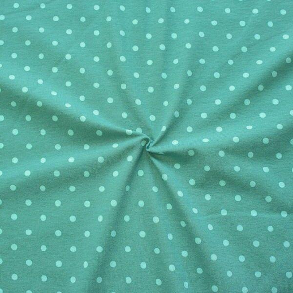 """Baumwoll Stretch Jersey """"Classic Dots 2"""" Farbe Mint Hell-Blau"""