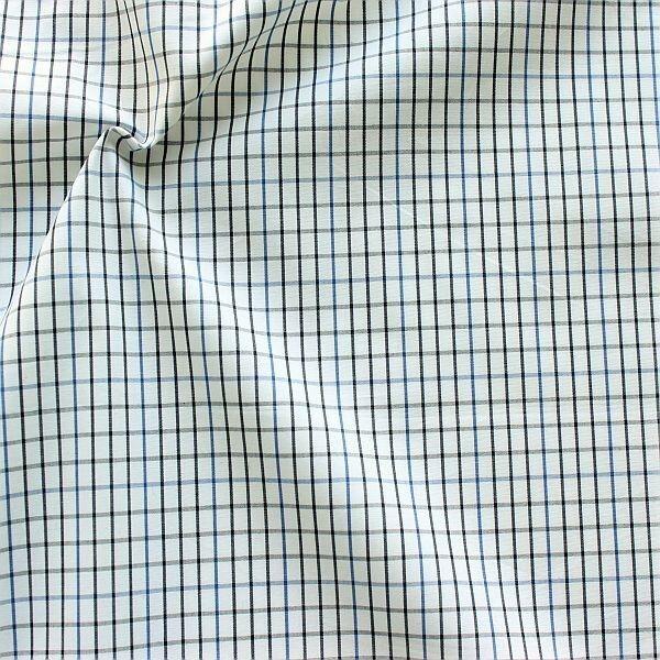 Baumwollstoff Hemden Qualität Karo fein Weiss-Blau-Schwarz