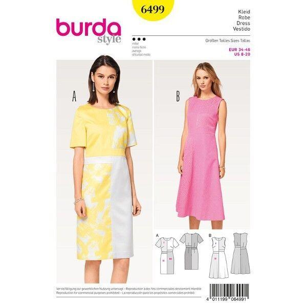 Kleid mit versetzter Taillenblende, Gr. 34 - 46, Schnittmuster Burda 6499