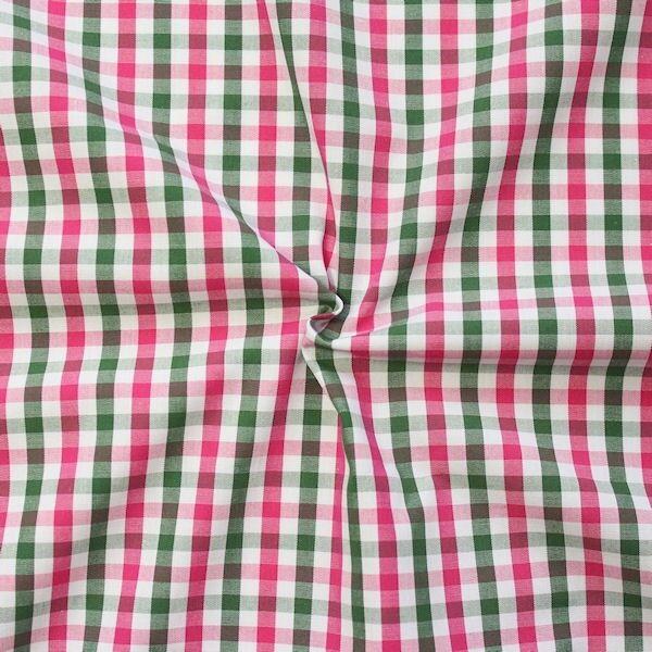 """Baumwollstoff Hemden Qualität """"Fashion Karo"""" Farbe Pink-Grün-Weiss"""