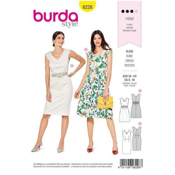 Kleid mit Gummismok – Etuikleid – V-Ausschnitt, Gr. 34 - 44, Schnittmuster Burda 6228