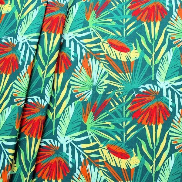 "100% Baumwolle Canvas ""Dschungel"" Farbe Petrol"