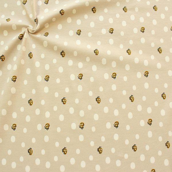 Organic Baumwoll Stretch Jersey Marienkäfer & Dots Beige