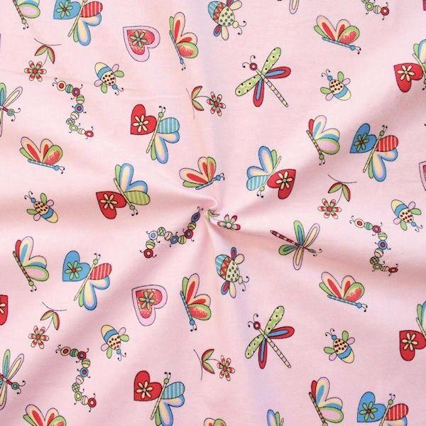 Rosafarbener Flanell 'Lovely Butterflys'