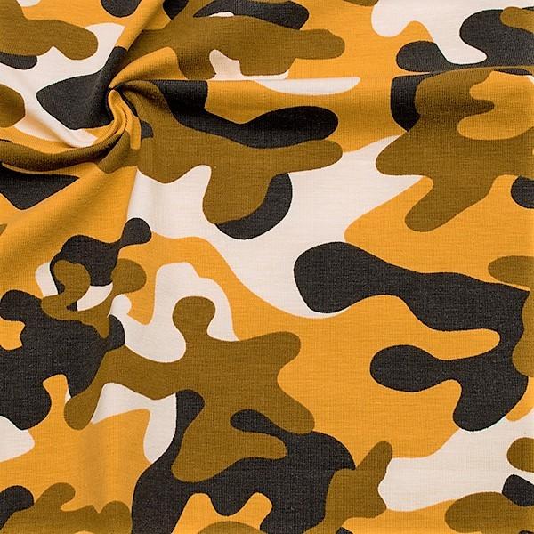 Baumwoll Stretch Jersey Camouflage Ocker