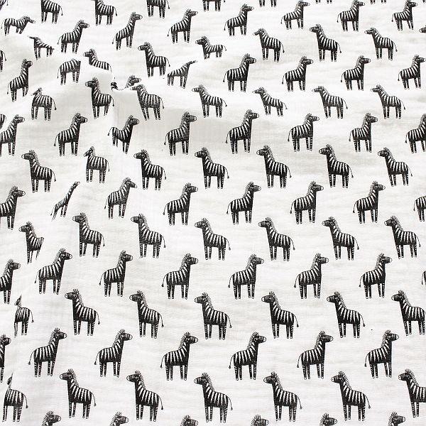 Baumwolle Musselin Zebras Weiss