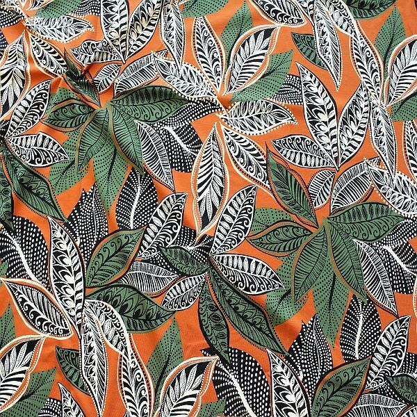 Baumwoll Stretch Jersey Blätter Ethno Style Terrakotta-Grün