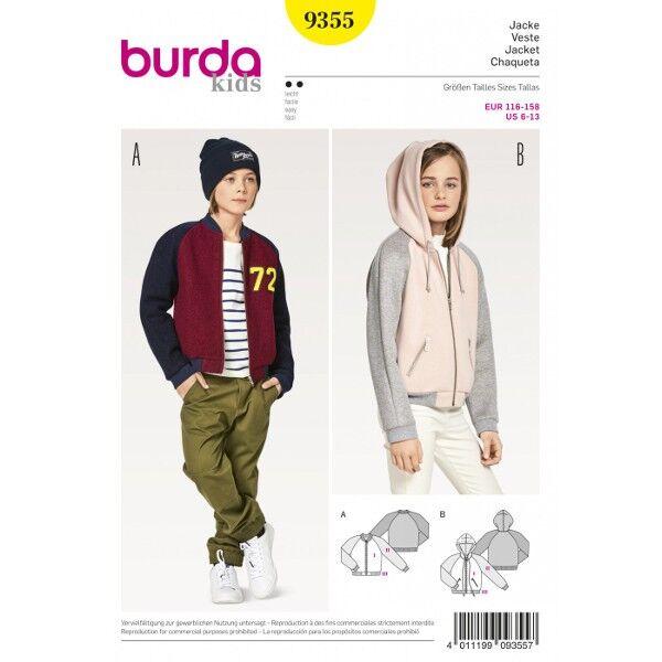 Burda 9355 Schnitt für Blouson mit Stehkragen und Kapuzenjacke mit Raglanärmeln